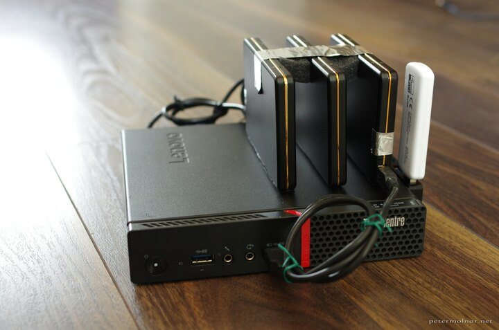 Lenovo ThinkCentre M600 with external hard drives, front view