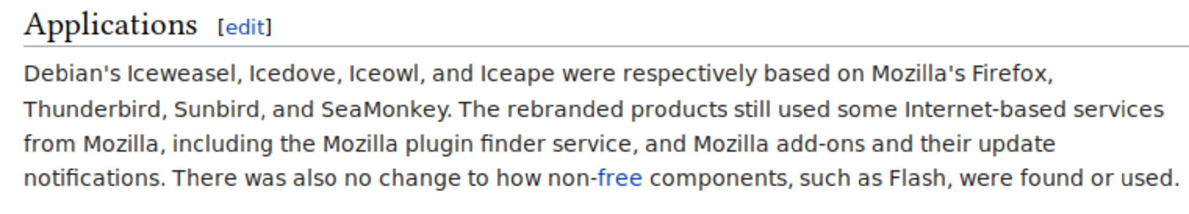 "Before showing URLs - example showing Wikipedia entry ""Mozilla software rebranded by Debian"""