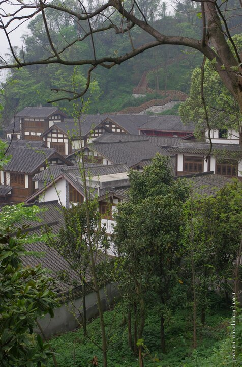 Ancient looking houses in Dujiangyan