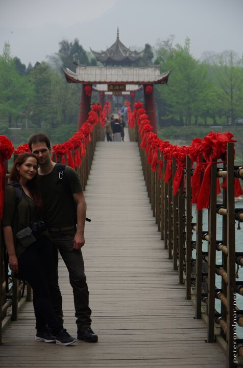 Us at the Anlan Bridge in Dujiangyan