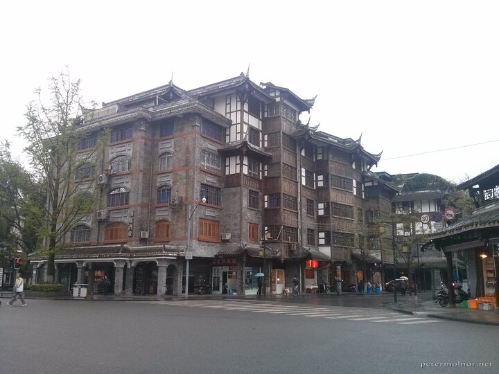 A mix of modern and ancient in a building in Dujiangyan