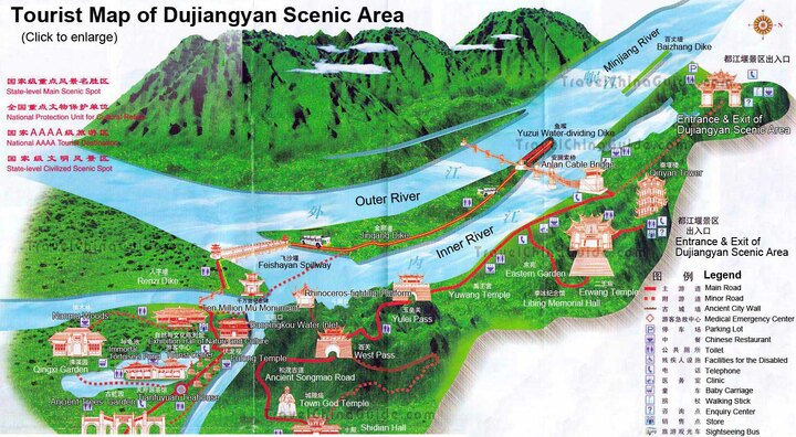 map of the Dujiangyan Scenic Area