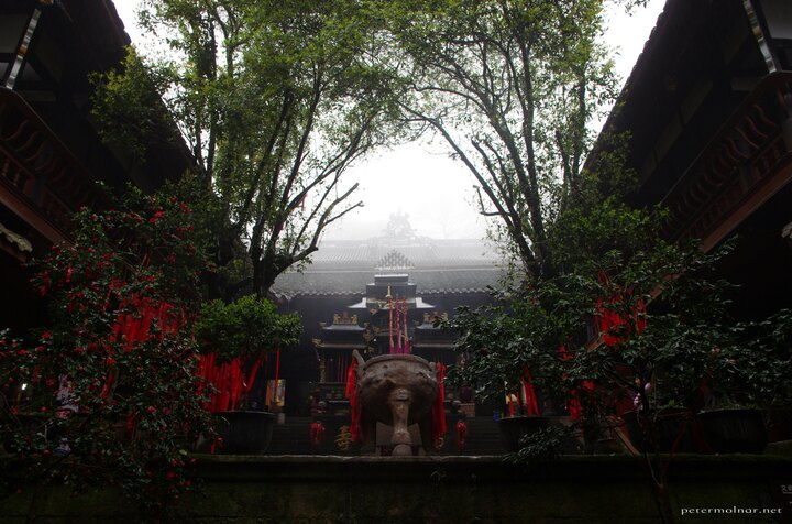 A temple garden at Mount Qingcheng