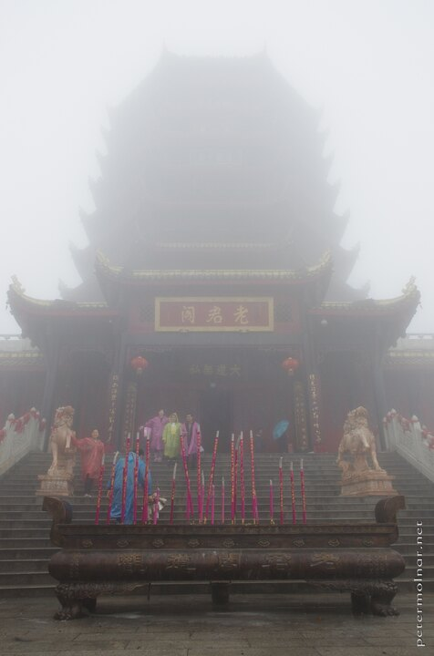 When the rain and the fog gets thick many things will blend into the nothingness, including the upper levels of this temple on Qingcheng