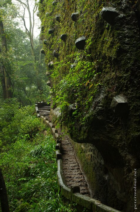 Ancient paths carved into the mountain at Qingcheng
