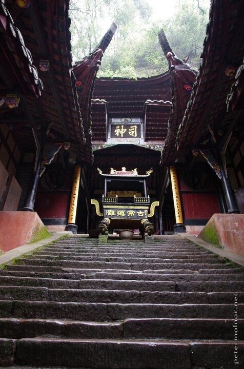 Ancient temple with original looking parts, given nothing was straight - a temple on Qingcheng
