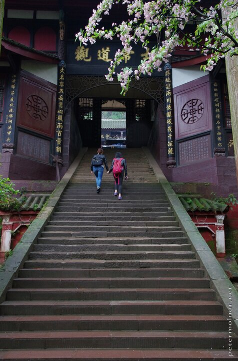 Stairs leading into a monastery on mount Qingcheng