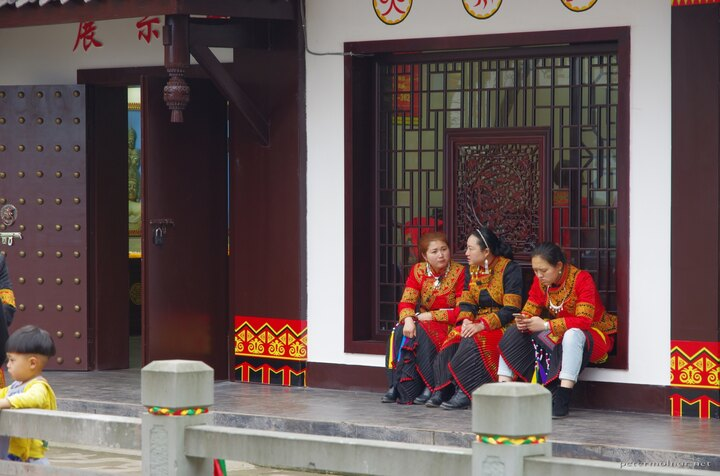Unidentified minority clothing at Mount Emei at a small shopping area