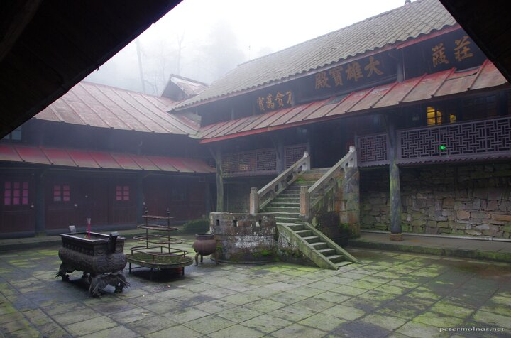 The inner garden of the monastery we slept at at Mount Emei