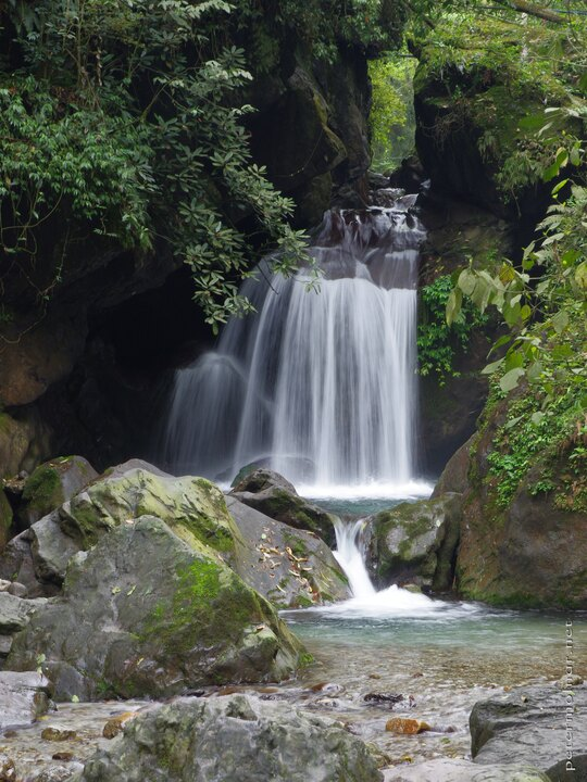 A waterfall at the Qingying Pavilion on Mount Emei