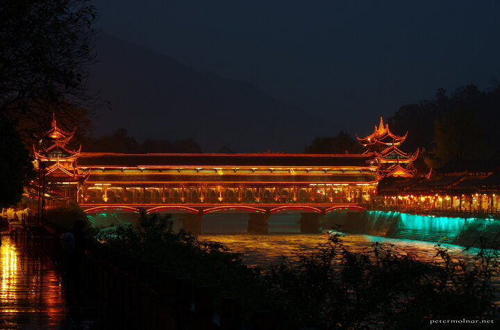 One of the bridges in Dujiangyan, bathing in LED lights at night
