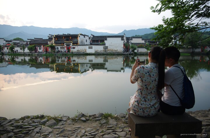 Couple in the sunset in Hongcun