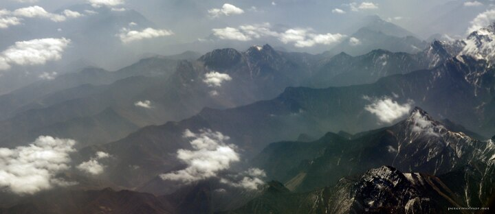 View of mountains from the plane on our way to Chengdu