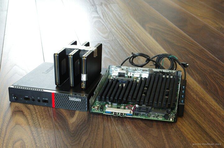 Lenovo ThinkCentre M600 with external hard drives, opened
