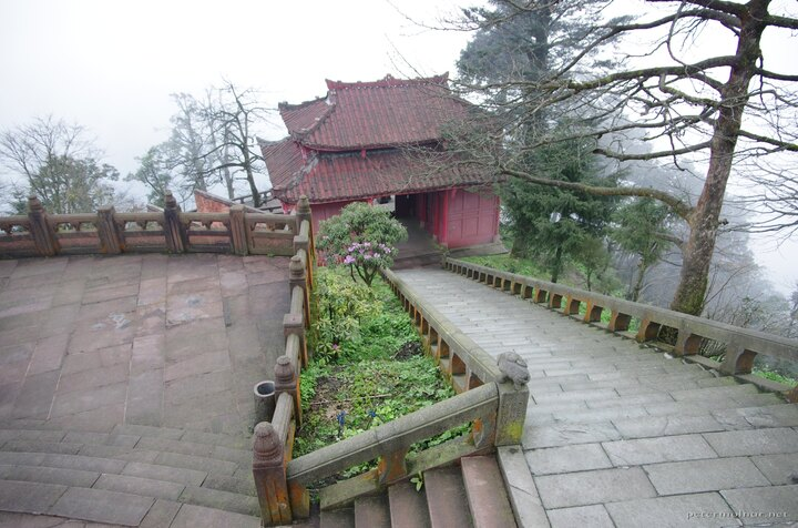 Elephant bathing pool - steep stairs and surrounding fog